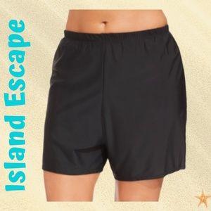 Plus Size Black Swim Shorts by Island Escape